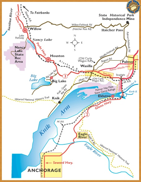 Willow Alaska Map Maps of Alaska Roads By Bearfoot Guides: Map Of Anchorage to