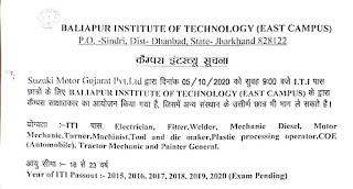 ITI Jobs Campus Placement For Suzuki Motor Gujarat Pvt.Ltd  In Sindri, Dist- Dhanbad,Jharkhand