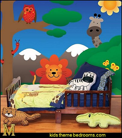 Jungle Animals wall mural Jazzie Jungle Boy Toddler bedding jungle themed bedrooms