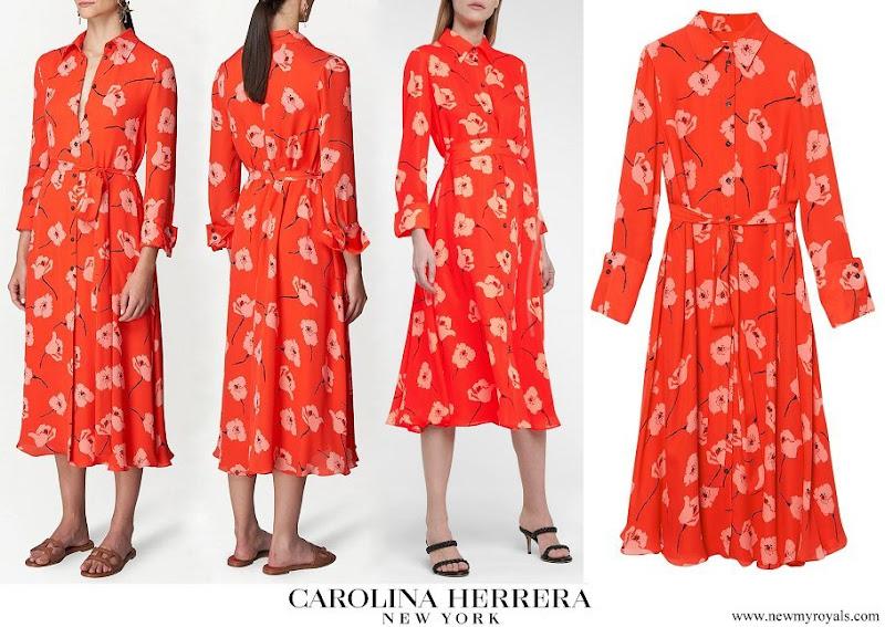 Meghan Markle wore CAROLINA HERRERA floral silk midi shirt dress