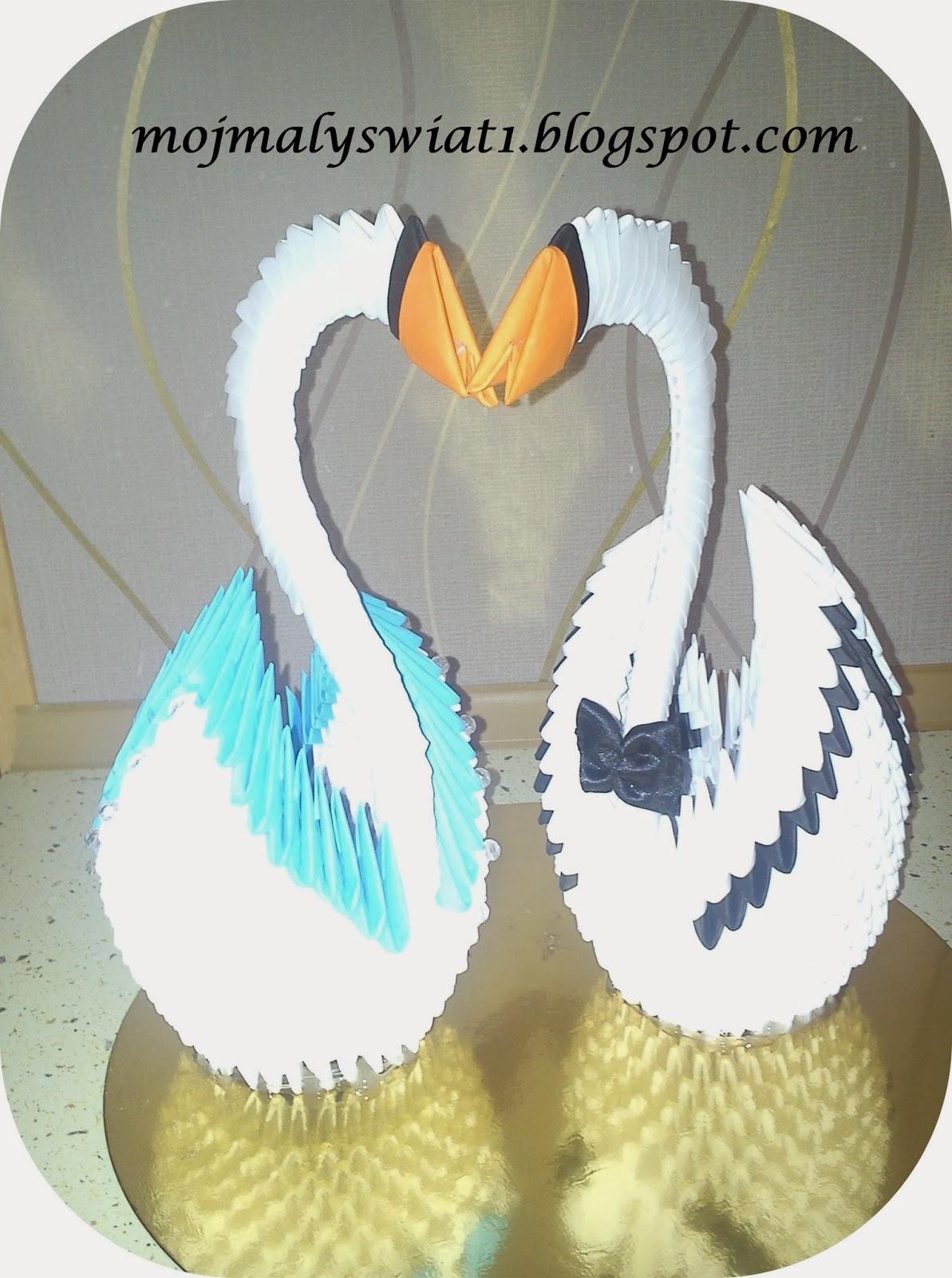 para łabędzi origami modułowe