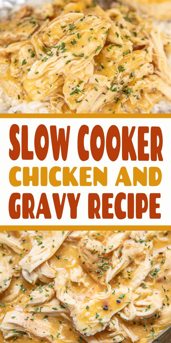 Slow Cooker Chicken and Gravy Recipe | Chicken and gravy cooked in the slow cooker together, great over mashed potatoes. #Chicken #Slowcooker #dinner #potatoes