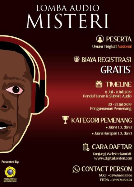 Lomba Audio Misteri Nasional Tahun 2019, Hadiah Jutaan !
