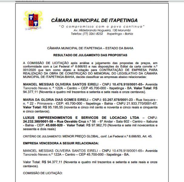 Licitação do Memorial da Câmara