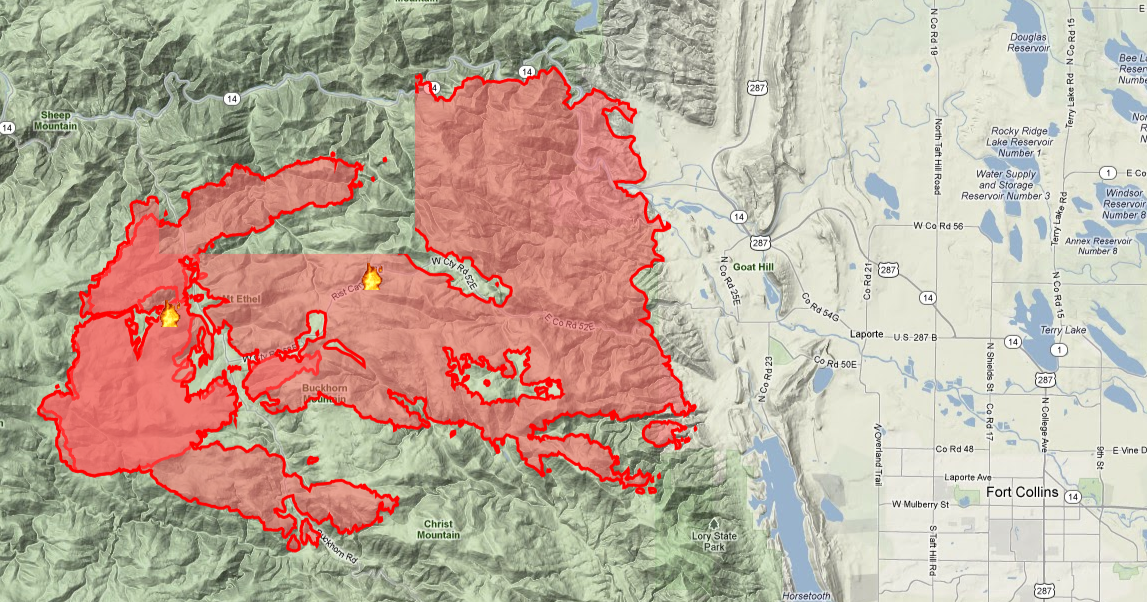 High Park Fire Map.Places To See