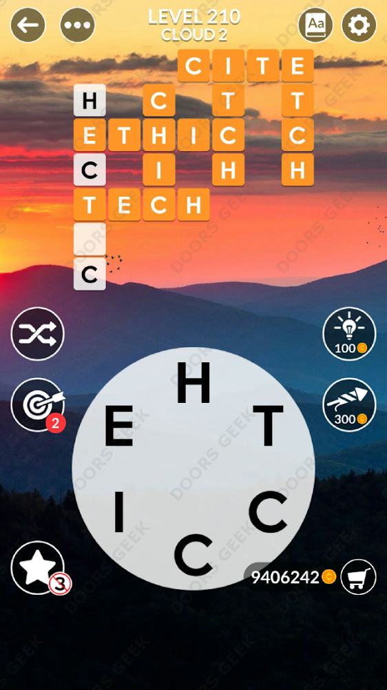Wordscapes Level 210 answers, cheats, solution for android and ios devices.
