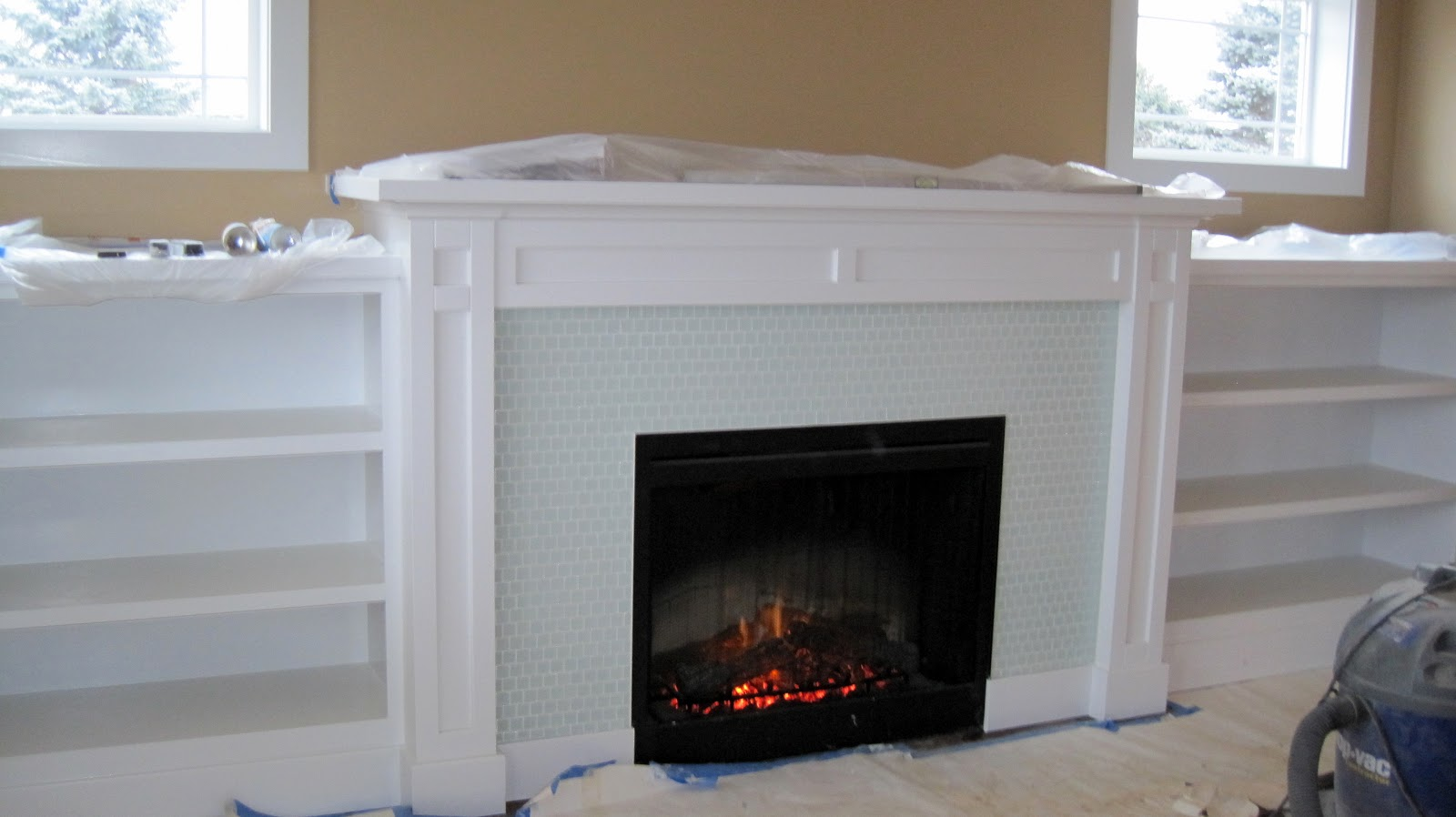 I Married A Tree Hugger Built In Fireplace With Shelves