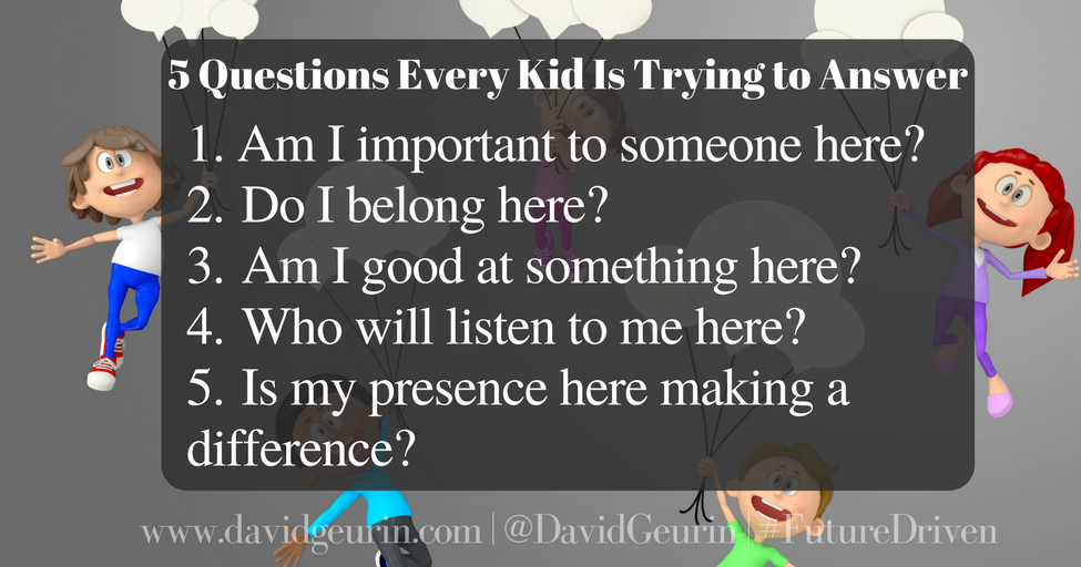The @DavidGeurin Blog: 5 Questions Every Kid Is Trying to Answer
