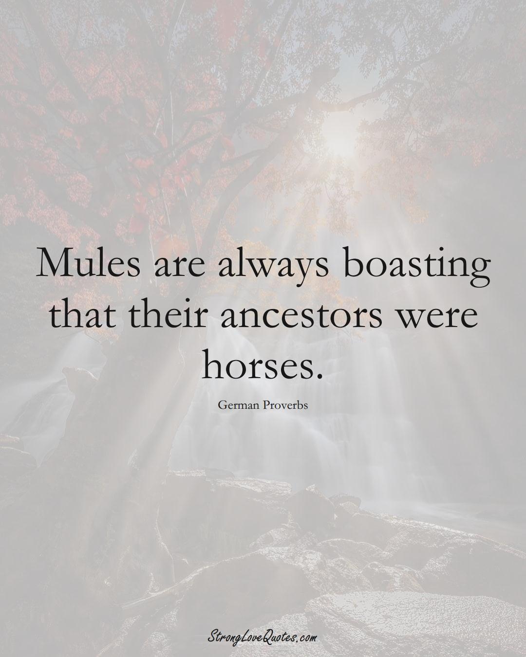 Mules are always boasting that their ancestors were horses. (German Sayings);  #EuropeanSayings