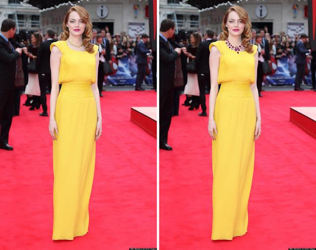 Эмма Стоун в желтом платье