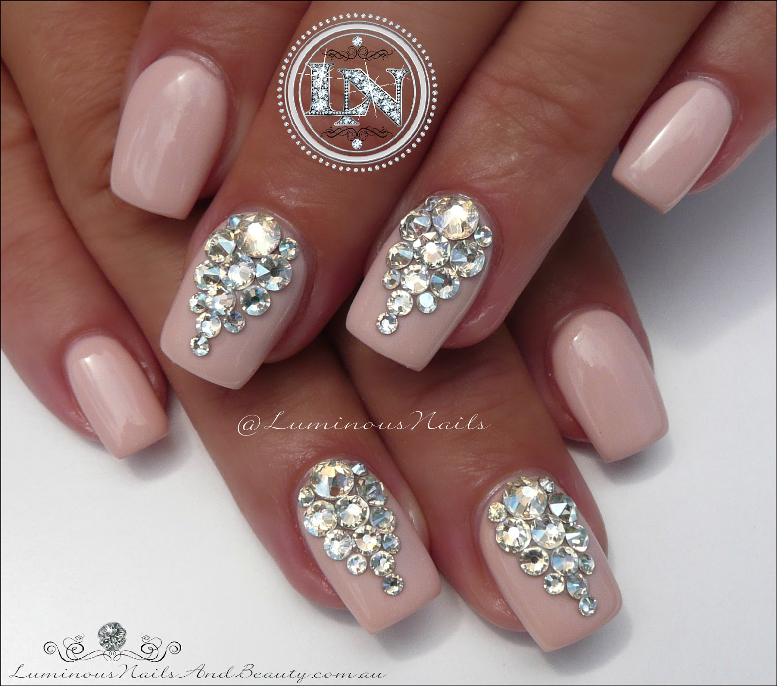 Bridal Nails Wedding With Swarovski Crystals