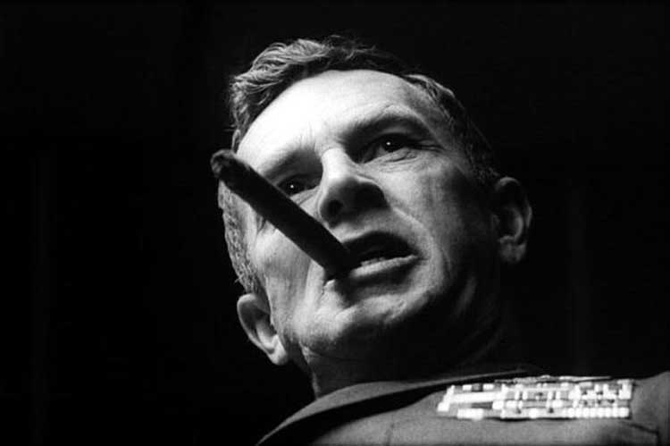 Sterling Hayden chomps on a cigar in Dr. Strangelove.