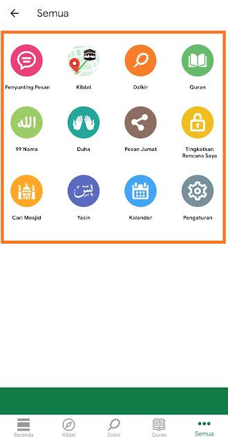 Menu Tambahan Aplikasi Muslim