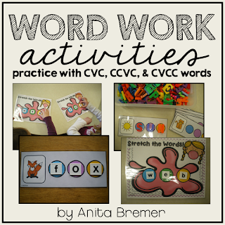 Work Work activities to practice CVC, CVCC and CCVC words- perfect as a literacy center