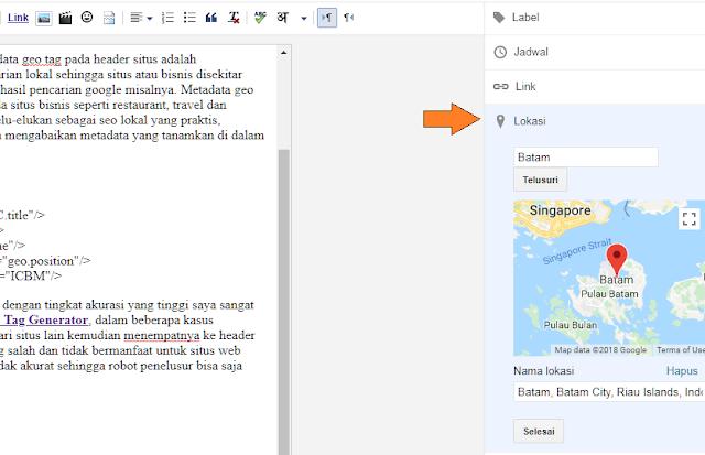 Meta Tag Geo Location Blogger