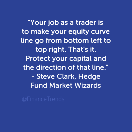 Your Job as a Trader Equity Curve Steve Clark, Market Wizards quote