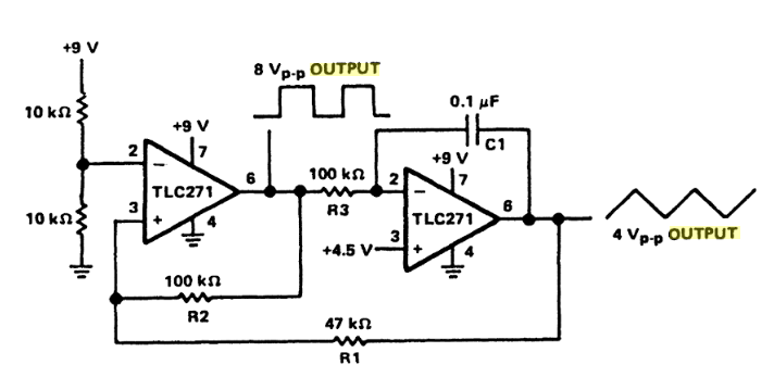 Single Supply Function Generator Circuit Diagram