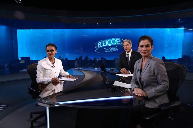 Rede Globo, William Bonner e sua assistente, e Marina Silva nas eleições de 2018