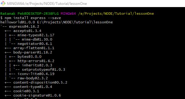 node js hello world