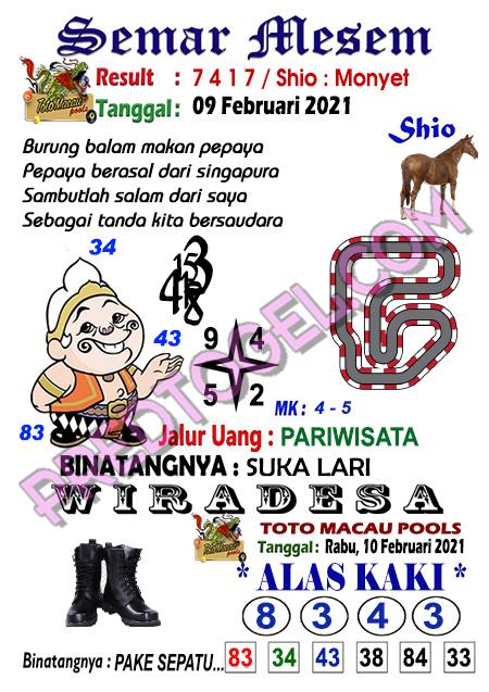 Syair Toto Macau Semar Mesem Rabu 10 Februari 2021