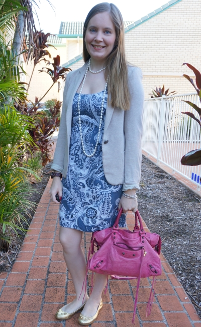 French Connection paisley print sheath dress, jersey blazer pink Balenciaga city bag | away from blue