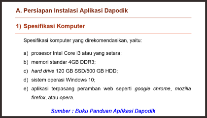 spesifikasi laptop untuk dapodik