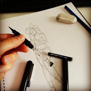 Dragon Ball - Lunch - préparation du pinceau Pintel pour l'encrage