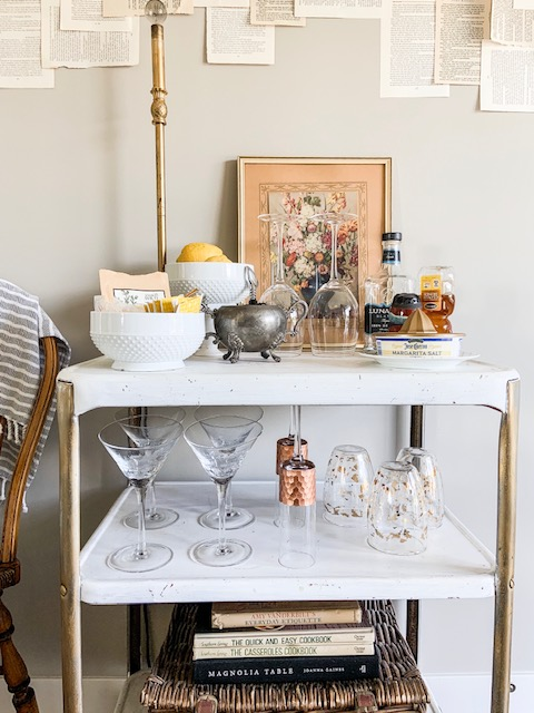 Dining room bar cart decor