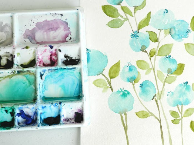 on my desk: watercolor blueberry flowers