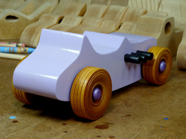 Wooden Toy Car - Hot Rod Freaky Ford - T Bucket - MDF - Lavender - Amber Shellac - Metallic Purple Right Rear