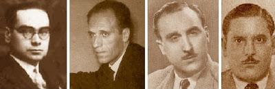 Los ajedrecistas Josep Vilardebó, Josep M. Bas, Jaume Lladó y Juan V. Bautista Sans