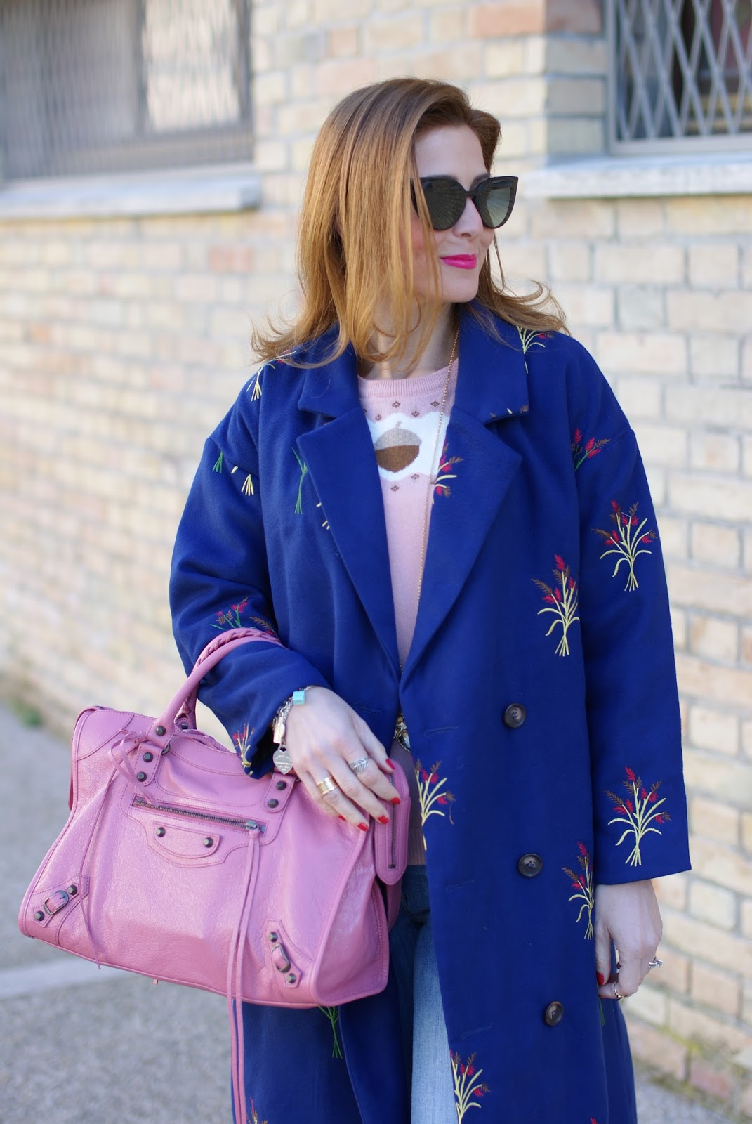 Balenciaga Rose Hortensia bag, floral embroidered Zaful coat on Fashion and Cookies fashion blog, fashion blogger style