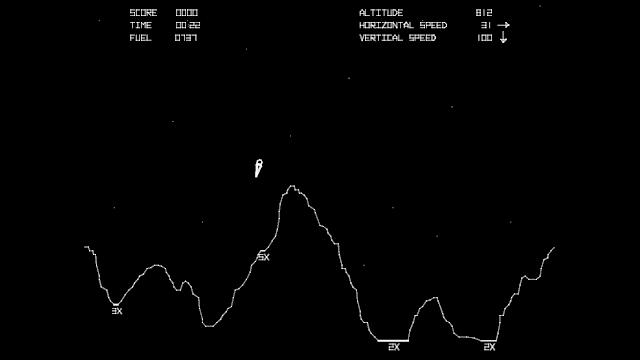 Image of lunar lander descending in Atari Lunar Lander 1979.