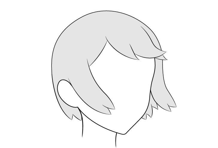Rambut anime bertiup angin 3/4 lihat gambar