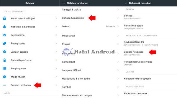 Pengaturan Google Keyboard Xiaomi