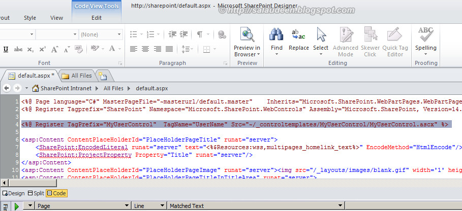 sharepoint 2010 add user control master page