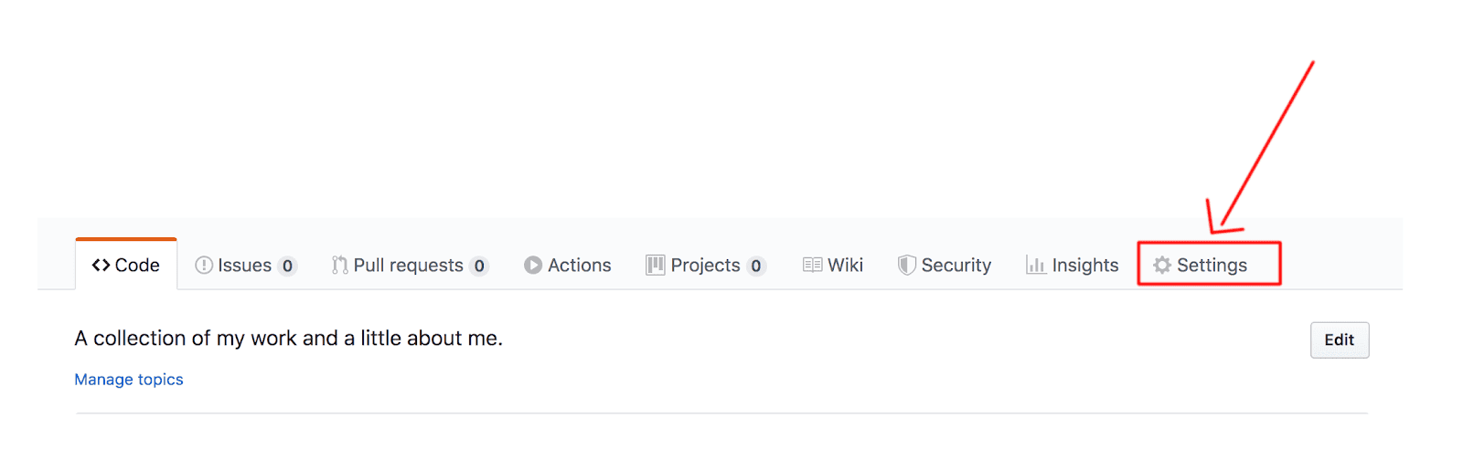 clicking settings on top right on github platform