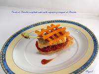 Pincho de Bacalao confitado sobre salsa Vizcaína y enrejado de Boniato