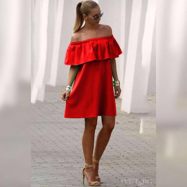 Μοντέρνο κοντό κόκκινο φόρεμα KARISA RED