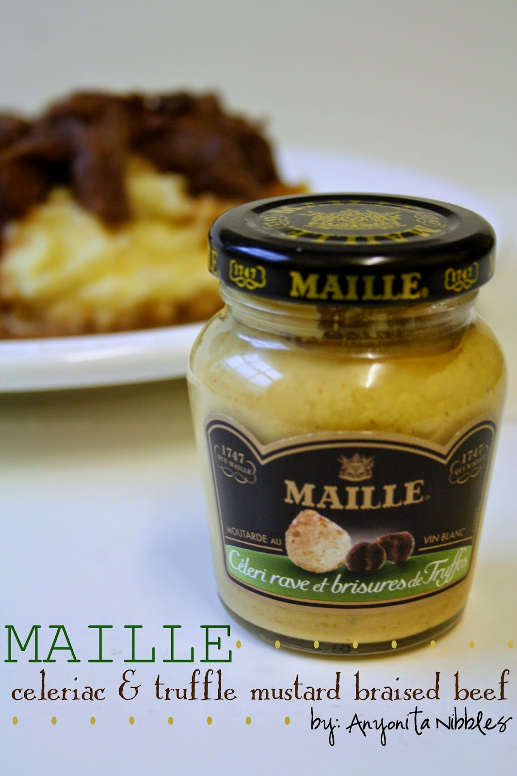 Maille's celeriac and truffle mustard cooked with beef