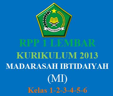 RPP 1 Lembar Khusus Madarasah Ibtidaiyah (MI)