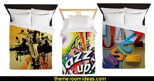 jazz bedding  Music bedroom decorating ideas - rock star bedrooms - music theme bedrooms - music theme decor - music themed decorations - bedding with musical notes