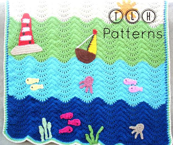 Sea ship nautical baby blanket Crochet pattern