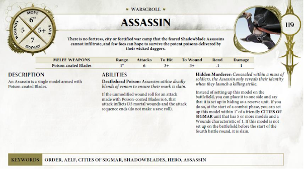 warscroll Asesino Elfo Oscuro