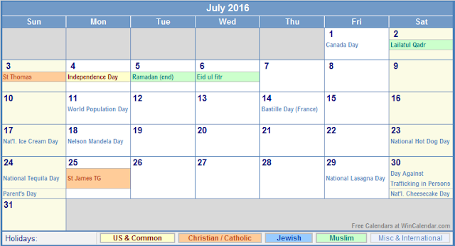 July 2016 Calendar with Holidays, July 2016 Calendar with Holidays UK, July 2016 Holiday Calendar UK, July 2016 UK Holiday Calendar