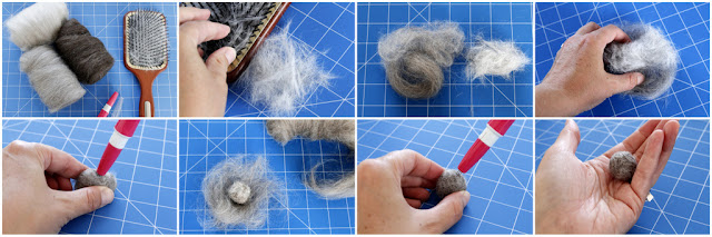 Step-by-step making needle felted balls with fur from dogs and cats