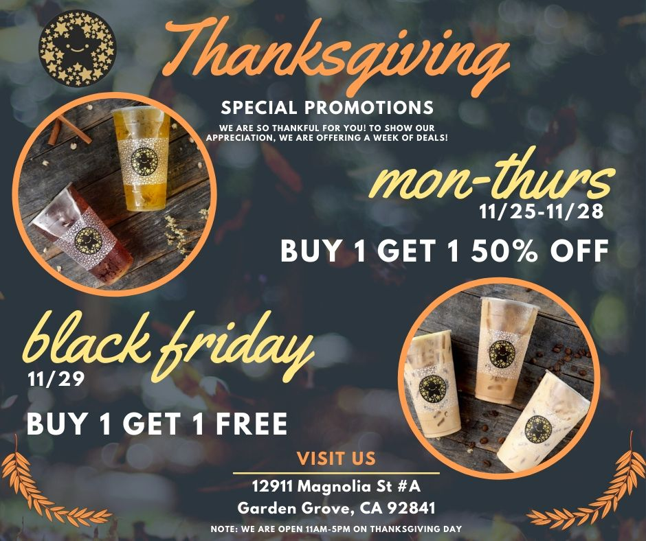 Nov. 25-29 | BOGO Free Drink Deals @ Tocotoco - Garden Grove