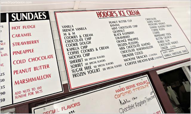 Menú de Helados de Hodgie's Ice Cream en Amesbury