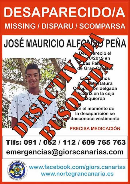El menor José Mauricio Alfonso Peña, localizado en buen estado, Las Palmas de Gran Canaria