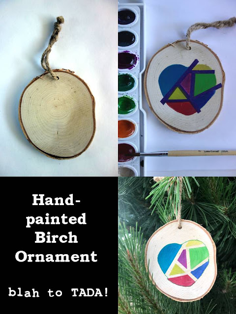 Hand-painted birch ornament